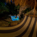Night view of the pool at Finca Malinche, Nicaragua