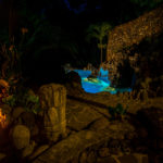 Night view of the pool at Finca Malinche, Laguna de Apoyo, Nicaragua